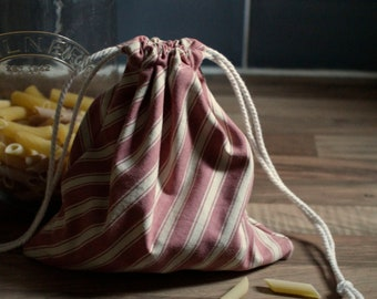 Reusable, handmade, cotton, eco-friendly, storage bags, zero waste, gift wrapping, produce bag, upcycled cotton, pink striped, french cotton