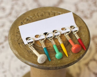 Rainbow knitting stitch markers made with vintage knitting needles. Set of 6. Limited edition. Knitters gift. Snag free. Knitting supplies.
