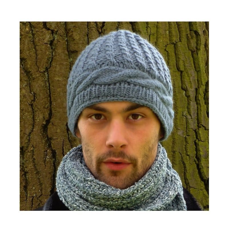11339f379e8 Mens Beanie. Hand Knitted Wool Hat.