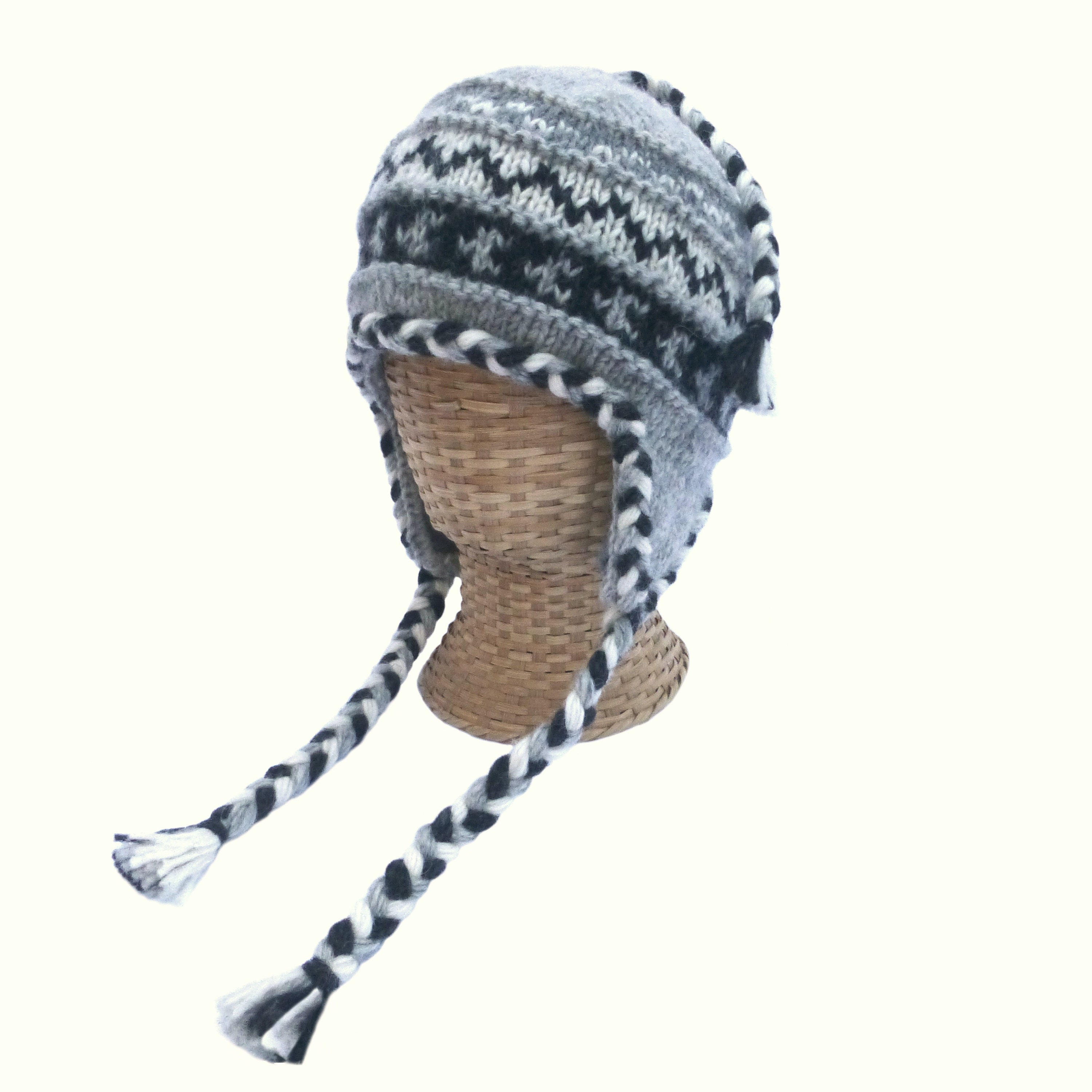 Mens Ribbed Knitted Hat With Ear Flap Protection Fleece Lined