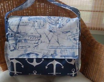 Nautical Messenger Diaper Bag