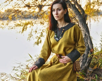 Early Medieval  dress made of wool. Made for order Viking Kirtle Cote Garb  Viking costume, reconstruction.