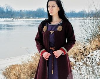 Viking long coat with trim, for woman, Viking coat  form Birka, Historical Pattern , Lagherta  Viking Reenactment, Viking Costume