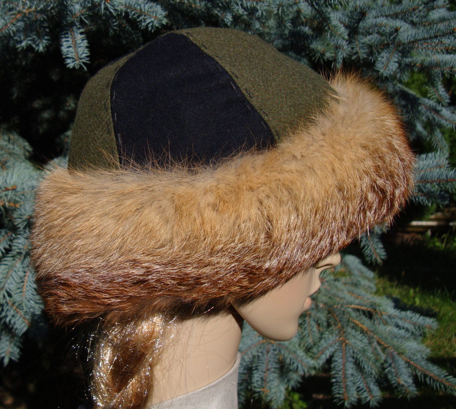 b8ac7256 Early medieval hat, round hat form Birka with fox fur. Viking, Middle Ages,  2 colored hat cap perfect for historical reenactors of Vikings