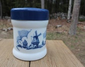 Vintage Milk Glass Cigar Holder Tobacco Humidor Milk Glass Canister Nautical Jar