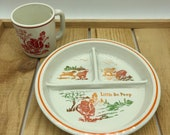 Vintage Children 39 s Little Bo Peep Divided Dish and Mug Baby Dish and Cup