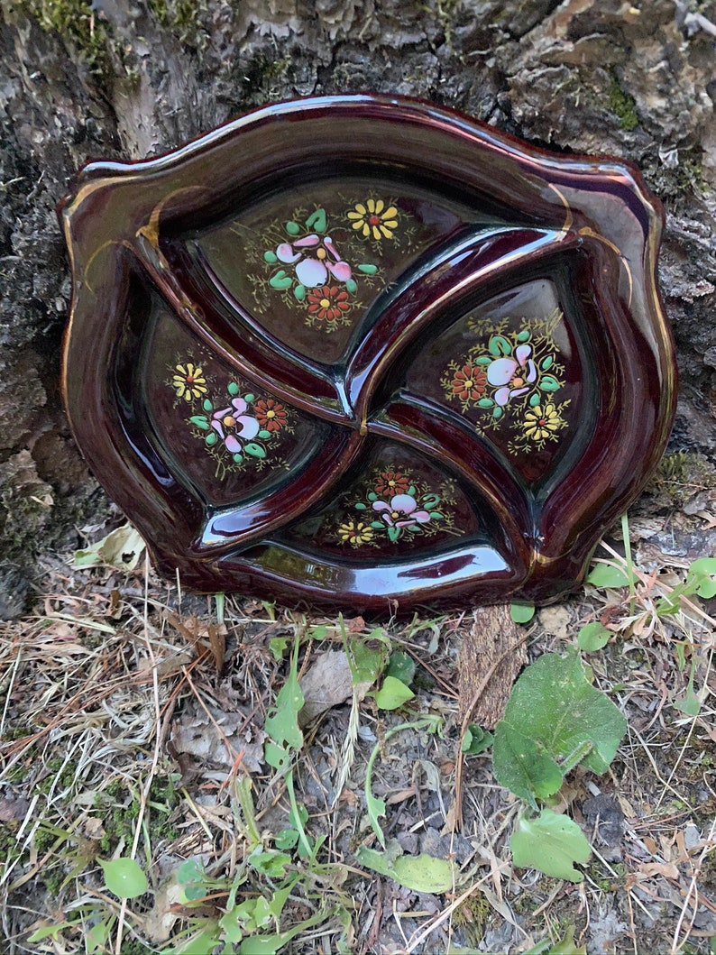 Redware Floral Divided Dish  Made in Japan  Brown Dish with Gold Trim