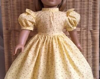 American Girl doll clothing - yellow cotton calico spring prairie dress