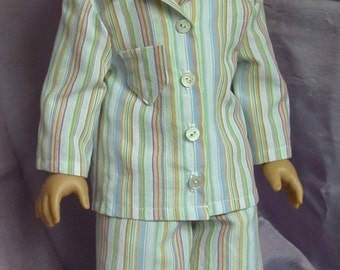 American Girl doll clothing - up-cycled cotton pajamas for boy or girl doll