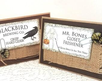 Halloween Cards - Rustic Halloween Cards - Mixed Media Card - Blackbird and Skeleton Cards - Blank Card - Happy Halloween Cards