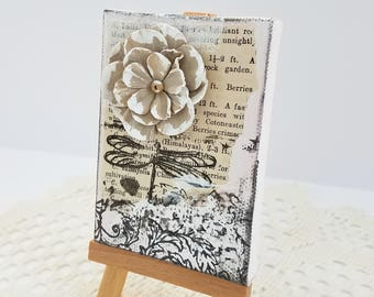 Book Page Mixed Media Canvas - Mini Canvas Collage - Black and White Canvas - Book Page Canvas - Floral Mini Canvas - Mixed Media Collage