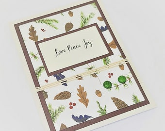 Love Peace Joy Card - Seasonal Card - Thanksgiving Day Card - Holiday Card - Christmas Card - Fall Card - Winter Card - Evergreen Card