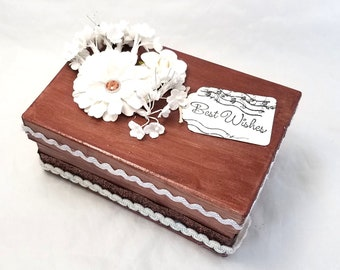 Rustic Brown and White Box - Rustic Wedding Gift Box - Rustic Gift Box - Rustic Decorative Box - Brown and White Gift Box - Rustic Decor Box