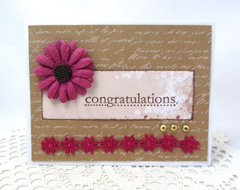 Congratulations Card - Spring Card - Wedding Card - Engagement - Kraft Paper - Fushcia Flower - Blank Card - Special Occasion - Graduation