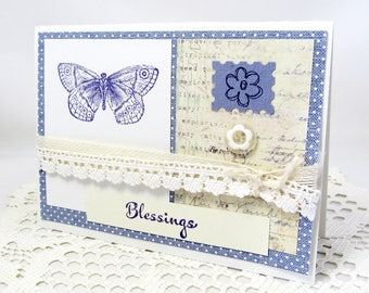 Butterfly Card - Blessings Card - Lavender Card - Lavender Butterfly - Vintage Style Script - Blank Card - Lavender Flowers - Religious Card