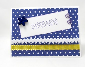 Congratulations Card - Graduation - Engagement - Wedding - Purple and Yellow - Polka Dots - Blank Card - Purple and White