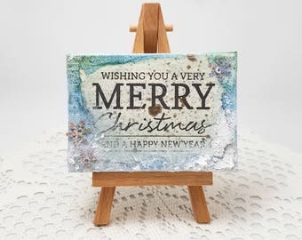 Mini Canvas - Mixed Media Canvas - Christmas Decor - Mixed Media Mini Canvas - Merry Christmas - Canvas Art - Mixed Media Art
