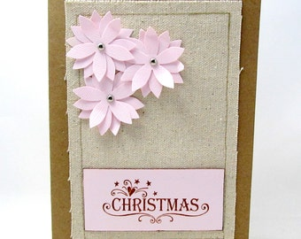 Pink Poinsettia Christmas Card - Poinsettia Kraft Card - Canvas Christmas Card - Blank Card - Pink Christmas Card - Rustic Christmas Card