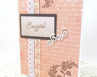 Congrats Card - Wedding Card - Congratulations Card - Soft Coral and White - Vintage Style Wedding Card - Brown Accents - Bird Cage Theme