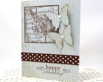Spring Birthday Card - Butterfly Birthday Card - Happy Birthday - Light Blue and Brown Card - Happy Birthday - Blank Card - Butterflies