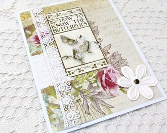 Butterfly Card - Floral Card - Vintage Butterfly Card - Vintage Floral Card - Blank Card - How to Know Butterflies Card - Vintage Card