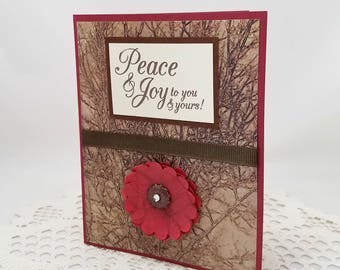 Peace and Joy Card - Holiday Card - Brown and Red Christmas Card - Thanksgiving Card - Red  Flower - Blank Card - Seasonal Card
