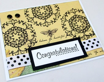 Congratulations Card - Celebratory Card - Vintage Botanical - Blank Card - Yellow and Black - Special Occasion - Vintage Bee Image