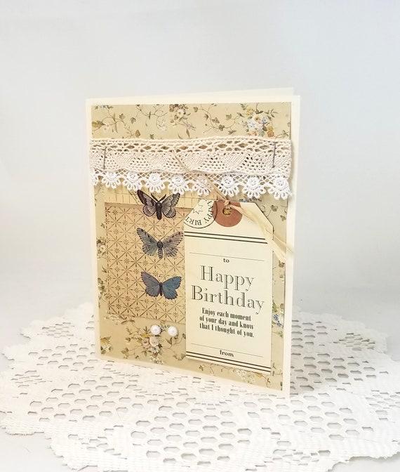 Vintage Happy Birthday Card Shabby Chic Birthday Card Lace Etsy