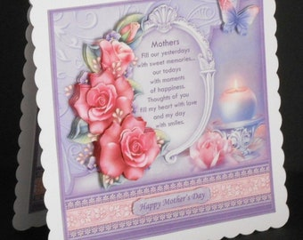 Ref No.17  -  8 x 8 Happy Birthday Mother Card with Pink Roses
