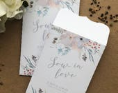Wedding Favour White Seed Packet Envelopes Personalised 'Sow in Love' x 10