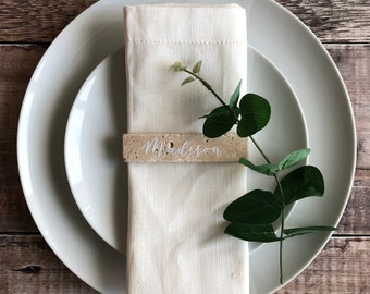 Wedding Table Place Name Rustic Tile Place Setting Place Card