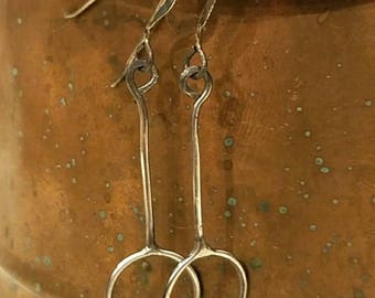 Rustic, geometric sterling silver earrings
