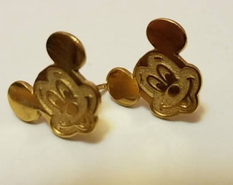 Vintage Disney vermeil Mickey Mouse earrings and one gold plated Disney Mickey Mouse pendant