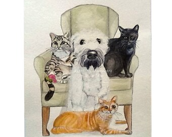 Custom 4 Pet Watercolor Portrait, Original Multiple Pet Art Painting, Custom Pet Memorial, Pet Lovers Gift, Personalized Wall Art, 8 x 10
