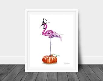 Halloween Flamingo Witch Watercolor Art Print, Tropical Halloween Decor, Bird on Pumpkin, Fall Art, Bird in Hat, Kid Friendly Art, Unframed