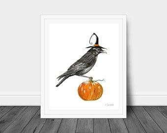 Halloween Witch Crow Watercolor Art Print, Crow in Witch Hat, Bird on Pumpkin, Whimsical Fall Art, Office Decor, Kid Friendly Art, Unframed