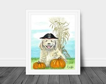Fall Puppy Watercolor Art Print, Halloween Dog Art, Whimsical Autumn Pet with Pumpkins, Cornstalks, Gallery Art, Kid Friendly, Gift for Her