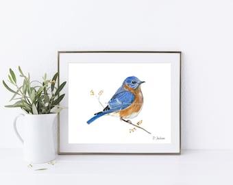 Bluebird Horizontal Watercolor Art Print, Backyard Bird Art, Modern Rustic, Farmhouse Nature Decor, Happiness Symbol, Gift for Her, Unframed