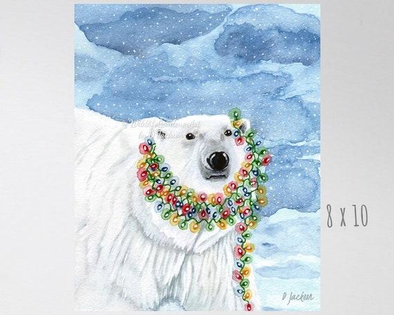 christmas lights polar bear watercolor art print whimsical christmas decor contemporary holiday wildlife decor holiday polar bear decor