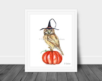 Halloween Witch Owl Watercolor Art Print, Bird on Pumpkin, Owl in Witch Hat, Whimsical Fall Art, Office Decor, Kid Friendly Art, Unframed