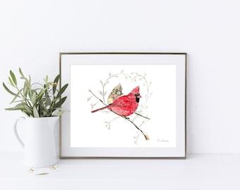 Cardinal Couple Horizontal Watercolor Art Print, Red Bird Art, State Bird, Memorial Art, Couple Gift, Wedding, Anniversary Gift, Unframed