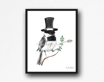 Chickadee in Top Hat Watercolor Art Print, Whimsical State Bird Art, Modern Farmhouse, Nature Decor, Boyfriend Gift, Gift for Her, Unframed