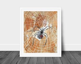 Halloween Black Widow Spider Watercolor Art Print, Spider Web Art, Halloween Fall Art, Entomology Gift, Nature Art, Gift for Him, Unframed
