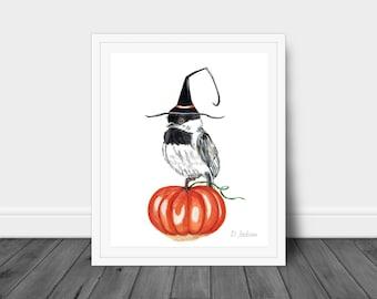 Halloween Witch Chickadee Watercolor Art Print, Chickadee in Witch Hat, Bird on Pumpkin, Whimsical Fall Decor, Kid Friendly Art, Unframed