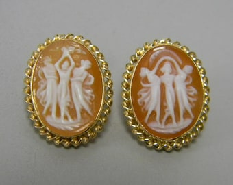 Antique Shell Cameo Earrings Vintage Pierced Stud Primavera Dancing Maidens