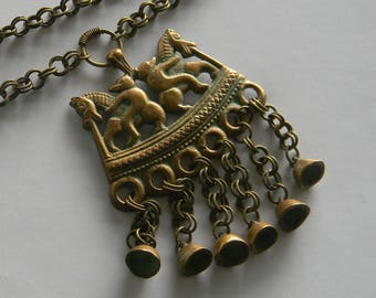 Vintage 1950's Kalevala Koru Double Horse Necklace, Bronze, Two Riders, Kokemaki Finland Finnish Antique Viking Style Scandinavian Necklace