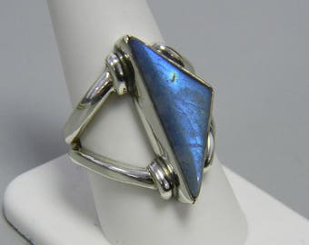 Genuine Triangle Labradorite Ring Sterling Silver Handmade Natural Stone