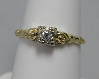 Antique 14k Yellow Gold Floral Diamond Ring Engagement Ring Vintage Estate 1950's