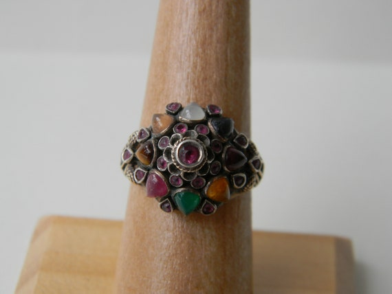Antique Harem Ring Thai Princess Multi Stone Clust