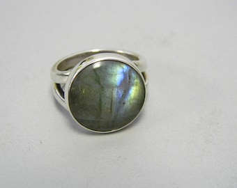 Genuine Labradorite Ring Sterling Silver Handmade Natural Stone